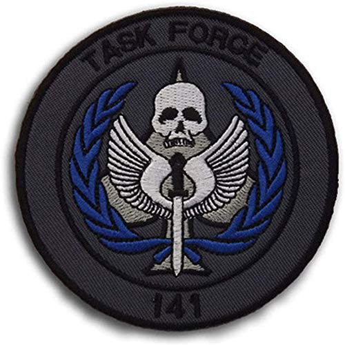 Task Force 141 Logo Call of Duty Embroidered Tactical Patches SAS Badge Emblem Morale Applique with Hook&Loop Fastener for Sew On Military Jackets Caps Rucksacks (Blue)