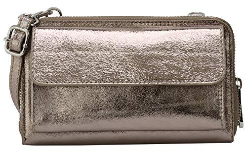 SH Leder Damen Handytasche Umhängetasche Geldbörse Multifunktion Beutel aus Echtleder Verstellbar Schultergurt Handy bis 6,7 Zoll 11,50x19cm Vera G368 (Bronze Metallic)