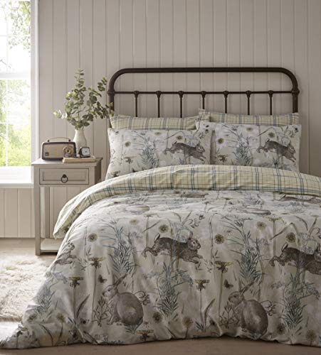Portfolio Rabbit Meadow Duvet Cover Set Bedding, Sage Green, Super King