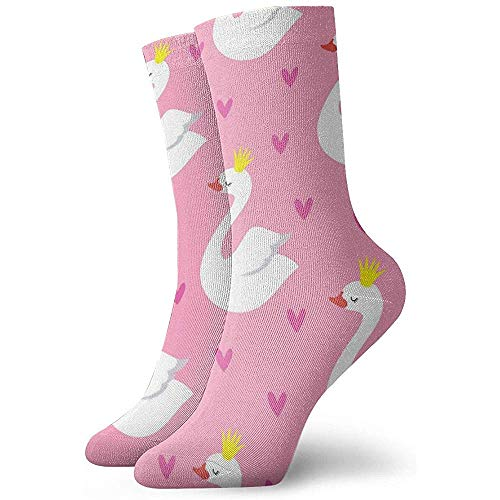 Adamitt Neuheit lustige verrückte Crew Socke niedlichen Schwan Prinzessin gedruckt Sport athletische Socken 30cm lange personalisierte Geschenk Socken