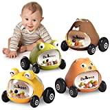 GILOBABY Baby Car Toys for 1 2 3 Year Old Toddler Baby Boy Girl 4 Pack Push and Go Mini Animals Cartoon Cars Toy, Educational Preschool Learning Color Vehicle Playset