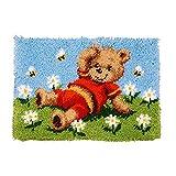 Kits De Gancho De Gancho De Bricolaje Kits De Crochet De Alfombras con Lienzo Impreso Daisy Bear Patrón para La Decoración del Hogar, para Niños/Adultos(Size:52x38cm)