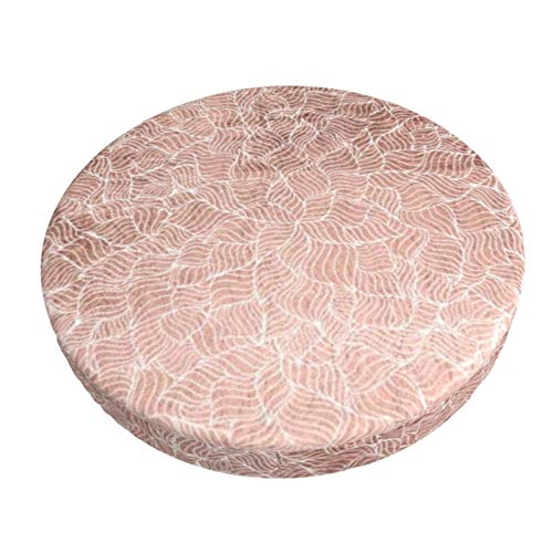 Luase Round bar Chair Cushion Cover Breathable Washable Stool Cover,Faux Rose Gold Stripes Geometric Abstract Barstool Seat Covers Elastic Stool Slipcover 13 Inch