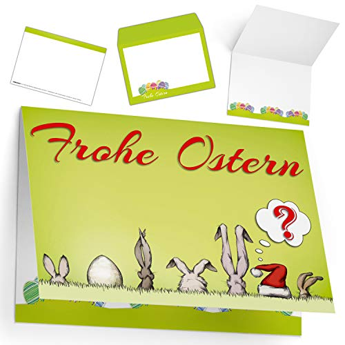 Osterkarten mit Umschlag (15er Set) OSTERMÜTZE - edle & lustige Klappkarten ideal privat und geschäftlich - Frohe Ostern Grußkarten von BREITENWERK