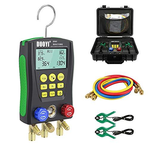 Digital Manifold Gauge Set for89KindofRefrigerant, Digital HVAC Gauges High-Precision Vacuum Pressure & Temp Test, Refrigeration Gauges Pressure Leakage Test, HVAC Gauges for Refrigeration Systems
