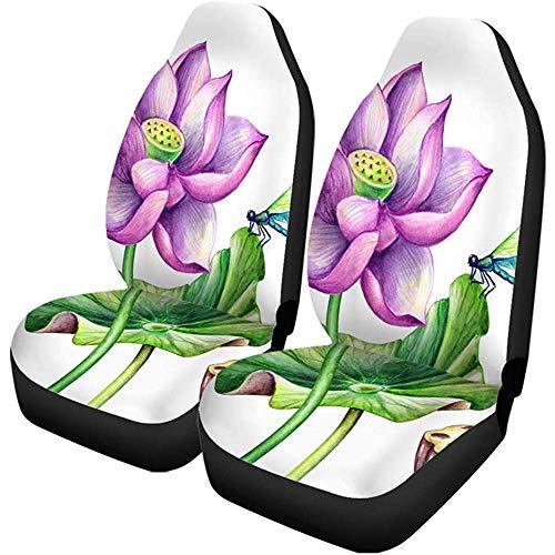 TABUE 2 stuks autostoelhoezen aquarel botanical pink lotusbloemen Oriental tuin natuur waterstoelen beschermer geschikt voor auto, SUV limousine, vrachtwagen