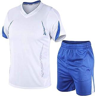 Macondoo Men's Breathable Tracksuit 2PCS Short Sleeve V-Neck Top Elastic Waist Sports Tracksuit