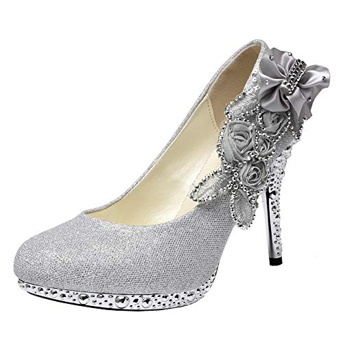GETMOREBEAUTY Women's Silver Lace Flower Pearls Closed Toes Wedding Shoes Pumps