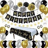 Cumpleaños Decoraciones Pack de Artículos para Fiestas - Negro Oro Globos Kit Paquetes HAPPY BIRTHDAY Pancartas Mantel Desechable para Hombre Mujer Niño 21th 30th 40th 50th 60th Birthday Decorations