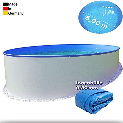 Ø 6,00 m Pool - Premium | Tiefe 1,50m | 0,8 mm Folie mit Keilbiese + 0,8 mm Stahlmantel | - Schwimmbecken Swimmingpool Rundpool Stahlwandbecken