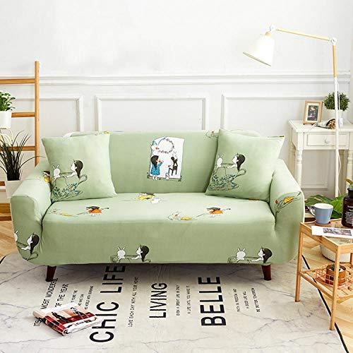 Fundas Sofas 3 y 2 Plazas Ajustables Verde Claro Fundas Sofa Elasticas,Funda de Sofa Chaise Longue,Moderna Cubre Sofa,La Funda para Sofa Jacquard de Poliéster (145-185cm)