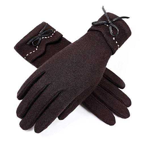 Guantes de lana acogedores para mujer Pantalla táctil de invierno Cashmere Plus Terciopelo Grueso Cálido Ciclismo Guantes de lana de conducción A prueba de frío (Color: Rojo, Tamaño: Tamaño libre)