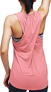Mippo Workout Yoga Tops for Women Loose Fit Long Racerback Tank Tops Exercise Shirts