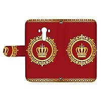 スマQ isai vivid LGV32 国内生産 カード スマホケース 手帳型 LG エルジー イサイ ビビッド 【B.レッド】 王冠とレース シンプル ami_vd-0248