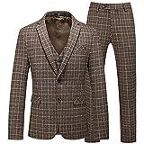 LEPSJGC Traje de 3 piezas para banquete de negocios para hombre, conjunto de pantalones con chaleco/Blazers de dos botones a cuadros para hombre, chaqueta, abrigo, pantalones, chaleco