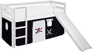 Lilokids Lit Mezzanine JELLE Pirat Noir -lit d'enfant Blanc - avec Toboggan et Rideau - lit 90x200 cm