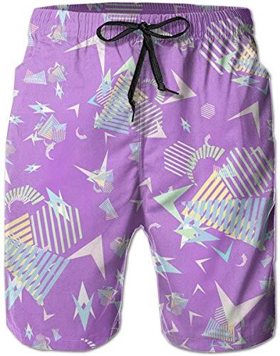 yukaiwei1 Badeshorts Schnell trockene Badehose Man Swimtrunks Board Shorts 80s 90s Purple Quick Dry Sports Beach Summer Mesh Lining