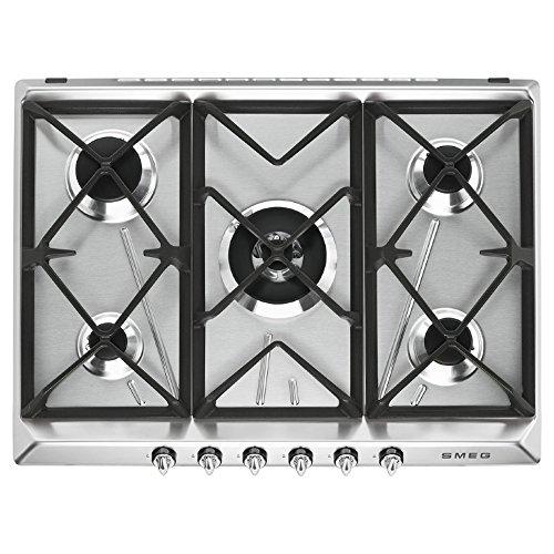 Smeg SR975XGH Integrado Encimera de gas Acero inoxidable hobs - Placa (Integrado, Encimera de gas, Acero inoxidable, hierro fundido, 1050 W, 1650 W)