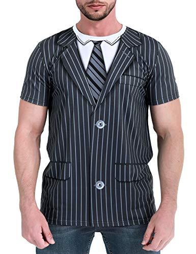 COSAVOROCK Disfraz de Esmoquin a Rayas Traje Camiseta para Hombre (L, Azul Violáceo)