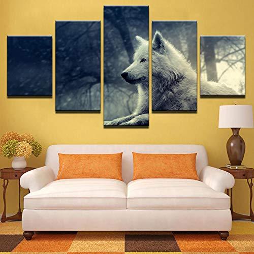 asfdgkwejd5 Kunstwandbilder 100x55CMTierwolfwaldlandschaft Druck Art Wallpaper Home Decoration Board Wandbild montiert Kunst Ölgemälde Foto