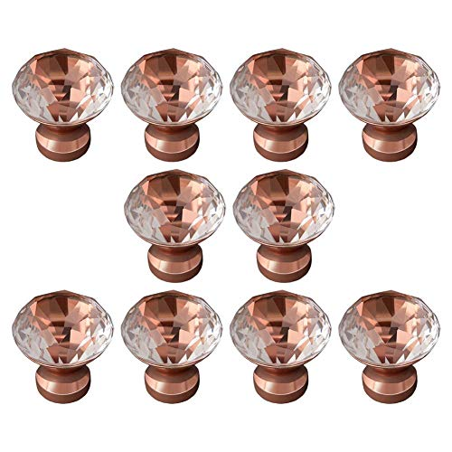 EleCharm 10Pcs 30mm Zinc Crystal Wardrobe Hardware Cabinet Door Knobs Cupboard Handle Pulls Furniture Modern Life (Copper)