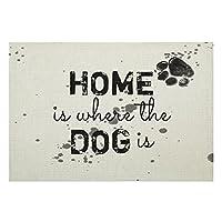 リネンPlaceMats4個セット、かわいい犬の見積もりホームは犬がいる場所ですダイニングキッチンレストランテーブル農家結婚式屋外屋内用滑り止めプレースマット