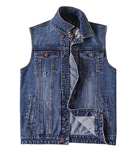 Kedera Men's Casual Button Up Denim Vest Vintage Sleeveless Jeans Vest Jacket Blue