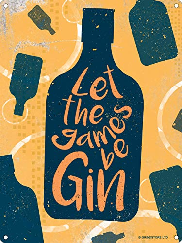 "Real Slick Tees Mini-Blechschild mit Aufschrift: ""Let The Games Be Gin"""