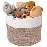 Goodpick Cotton Rope Basket with Handle for Baby Laundry Basket Toy Storage Blanket Storage Nursery Basket Soft Storage Bins-Natural Woven Basket, 15'' × 15'' × 14.2'', White & Brown