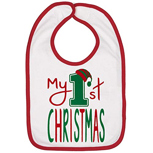 Handmade Cute Baby Holiday Christmas Bibs - Boy Girl First Christmas Bib (My 1st White Bib)