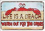 Jotora Life Is A Beach - Pintura de lata, letrero de hierro, arte de pared, nostálgico, creativo, regalo, pintura decorativa, personalizada, minimalista, cartel, tendencia retro