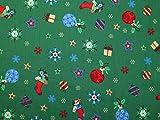 Weihnachten Motive Print Baumwolle Stoff smaragd