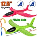 "2 Pack Airplane Toys, Upgrade 17.5"" Large Throwing Foam Plane, 2 Flight Mode Glider Plane, Flying Toy for Kids, Gifts for 3 4 5 6 7 Year Old Boy, Outdoor Sport Toys Birthday Party Favors Foam Airplane from BooTaa"