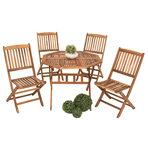 Estexo Zitgroep van acaciahout, model Forest voor 4 personen, houten tuinzitgroep, inklapbaar