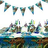 Juego de Decoración de 88 Piezas Moana Party Supplies, Platos de Papel, Servilletas, Vasos,...