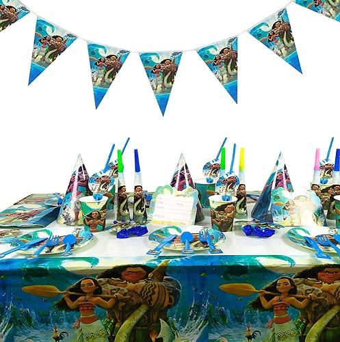 Juego de Decoración de 88 Piezas Moana Party Supplies, Platos de Papel, Servilletas, Vasos, Decoración de Feliz Cumpleaños, Cadena de Fiesta Colorida, Pancarta, Tema de Regalo, Carnaval