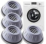 XINCHEN Tappetino Antivibrazione per Lavatrice 4 Pezzi Piedini Lavatrice Antivibrazione Ammortizzatore Vibrazione per Lavatrice in Gomma per Lavatrice e Asciugabiancheria Basso Rumor (4cm)