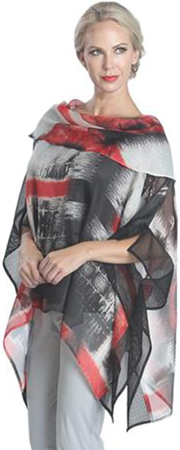 IC Collection Very Stylish and Flattering Print Mesh Poncho Top in Red Multi 1108T