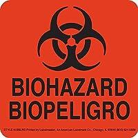Labelmaster H-BBLRS Biohazard Label 4 x 4 Bilingual (Pack of 500) [並行輸入品]