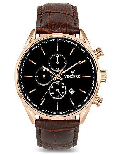 Vincero Luxury Men's Chrono S Wrist Watch - Top Grain Italian Leather Watch Band - 43mm Chronograph Watch - Japanese Quartz Movement… (Rose Gold)