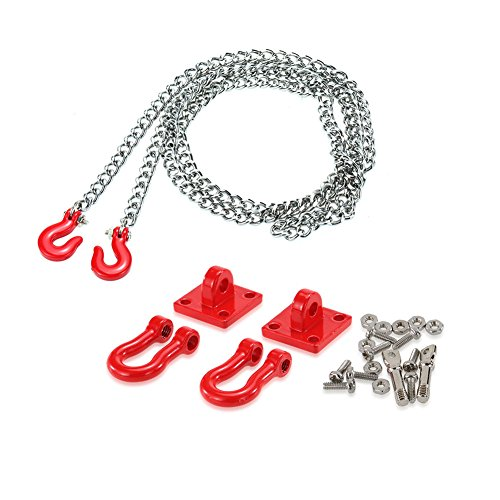 Faironly Metall-Ketten-Set für Anhängerkupplung, für RC Auto 1/10 Traxxas Axial SCX10 Tamiya CC01 RC4WD D90 RC Rock Crawler 1:10 Zubehör Rettungskette Set