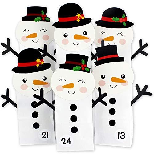PaPIerDraCHeN Calendario dell'avvento Fai da Te da riempire - Pupazzi di Neve Perforati - con 24 Sacchetti di Carta Bianca da riempire da Soli e Fai da Te - Natale 2021 per i Bambini