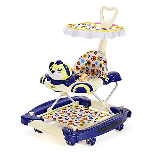 GUO@ Baby Walker Rueda silenciosa Multifunción Plegable antivuelco 4 en un carro infantil Cochecito para caminar anti-o piernas Caballo mecedora variable con manijas de empuje y toldos