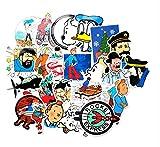 GSNY Animación de fantasía Las Aventuras de Tintin Trolley Case Graffiti Stickers Refrigerador Batería Coche Coche Pegatinas Impermeables 25 Hojas