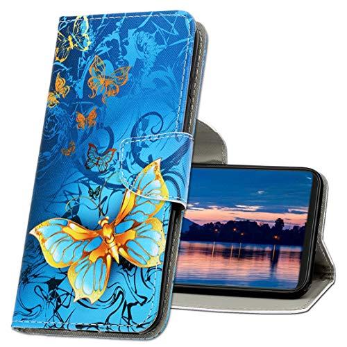 MRSTER Funda Honor 8X, PU Cuero Flip Folio Billetera Carcasa [Kickstand] [Ranura para Tarjeta] [Cierre magnético] Protectora Funda para Huawei Honor 8X. XC1 Butterfly