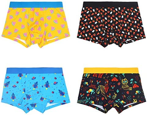 WAZATE Men s Boxer Briefs Colorful Novelty Comfy Breathable Cotton Funny Underwear 4 Pack product image