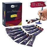 Artina Set de Colores acrílicos Crylic 12x22 ml - Set de Pintura acrílica Pintores Profesionales y Aficionados