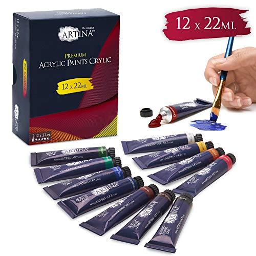 Artina Set Colori Acrilici Crylic 12x22 ml colore per artisti - Set Pittura Acrilica di Alta Qualità per principianti, amatori e professionisti - Kit pittura acrilico - colori in tubetti