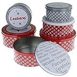 MACOSA CE69934 Gebäckdosen vers. Sets Metall Rot Weiß stapelbare Keks-Dose Aufbewahrungsdose Plätzchen Vorratsdose Geschenk-Verpackung Blechdose (6er Set)
