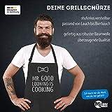 MoonWorks Koch-Schürze Grill-Schürze für Herren mit Spruch Mr Good Looking is Cooking Fliege schwarz Unisize - 3